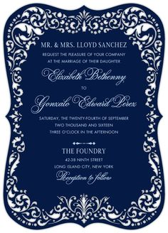 Regal Overture - Signature Laser Cut Wedding Invitations in White or Stream | Jenny Romanski