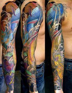 Japanese sleeve tattoo koi, dragon, lotus #Tattoo #Koi #Sleeve #tattoos #inkt #japanese tattoo #koisleeve #black&white #tattoo