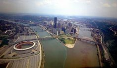 Three Rivers Stadium, Point State Park, downtown Pittsburgh PA-aerial shot