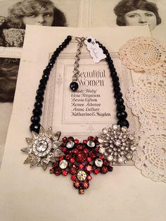 Vintage Black Red Rhinestone Brooch Statement Necklace