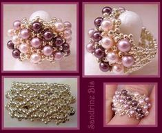beaded ring tutorial - no tute - looks like a netted ring with pearls added in the gaps at the front.