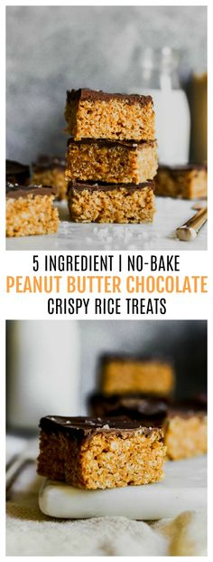 5 Ingredient Peanut Butter Chocolate Crispy Rice Treats Peanut Butter Crispy Treats, Peanut Butter Rice Crispies, Peanut Butter Chocolate Bars, Salted Chocolate, Rice Crispy Treats, Chocolate Topping, Krispie Treats, Healthy Desserts, Easy Desserts