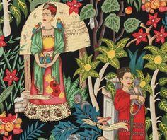 Frida's Garden Black, Frida Kahlo Fabric, Alexander Henry    Ohhhh! Need this    £13