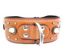 Indianer Hundehalsband Leder Typ Apache hellbraun (S48 cm Halslänge 35-43cm)