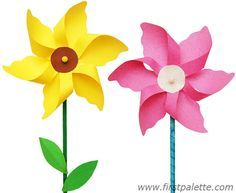 DIY Paper Flower Pinwheels. Print template. Wrap pencil in green fabric scraps. Use pin to poke through flower and into eraser. Glue leaves onto stem.