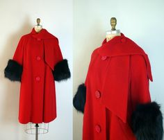 Vintage 1950s Red Wool Swing Coat w/ Black Fox Fur Trim