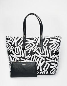 DKNY Logo Shopper Tote Bag
