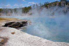 Mist rising off Excelsior Geyser in Yellowstone National Park