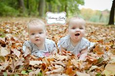 Fall Twins Leaves Photography Baby | Brittany Gidley Photography LLC