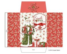 Digital Printable Santa Cocoa Envelope or Potpourri or Sachet Envelope