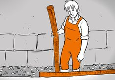 Heimwerker steht vor einer Wand und hält ein Drainagerohr in der Hand.