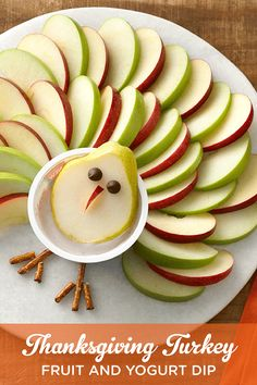 "Gobble up this delicious Yoplait Greek ""Turkey"" snack just in time for Thanksgiving! Slice apples and pears, add chocolate chip ""eyes,"" and pretzel ""legs"" for a creative, fruity treat."