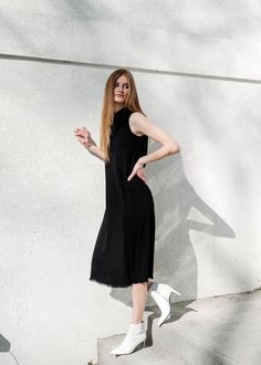a73890249d5c5d This satin dress from Raquel Allegra features raw edges and a silk bandana  neckline for an elegant and simple look. Available in black at Tula Boutique  in ...