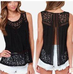 Women's Clothing Tops & Tees Tanks & Camis Fashion Women Summer Vest Top Sleeveless Casual Hollow Out Lace Tank Tops Item Type: Tops Gender: Women Decoration: Hollow Out Clothing Length: Regular Patte