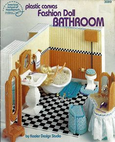 Fashion Doll Bathroom in Plastic Canvas for Barbie American School of Needlework 3089. $12.00, via Etsy.
