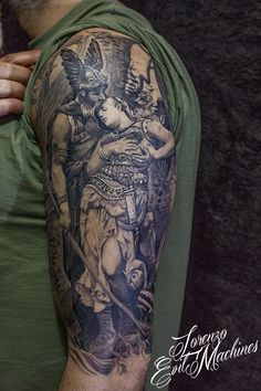 """Wotan takes leave of Brunhild by Konrad Dielitz Tattoo by Lorenzo Evil Machines, Roma - Italia Ems Tattoos, Wolf Tattoos, Tattos, Tattoos For Guys, Viking Men, Werewolf, Kara, Tattoo Inspiration, Vikings"