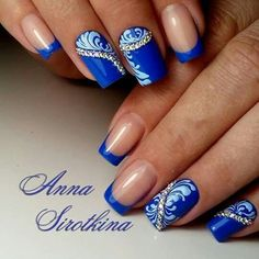 Blue Nail Art Ideas for 2018 - Top 150 Designs - Our Nail Blue Nail Designs, Beautiful Nail Designs, Blue Nails, My Nails, Nails Design With Rhinestones, Diva Nails, Nail Polish Art, Bridal Nails, Rhinestone Nails