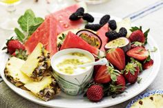 For a healthy dessert alternative, try our fruit platter with passionfruit yoghurt recipe. Christmas Lunch, Christmas Breakfast, Christmas Desserts, Christmas Ideas, Christmas 2015, Merry Christmas, Coastal Christmas, Christmas Decorations, Xmas Food