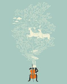 bunny playing cello with deer