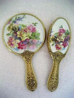 Victorian Hand Mirror Brush Antique Porcelain Roses