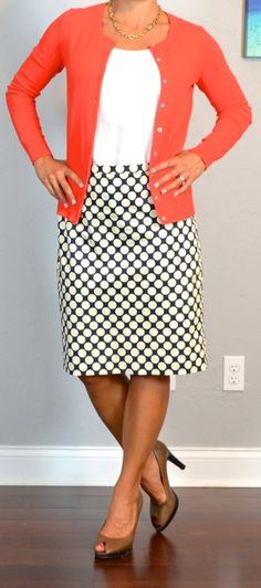 Outfit Posts: outfit post: red cardigan, white tank, polka-dot pencil skirt, brown peep toed pumps