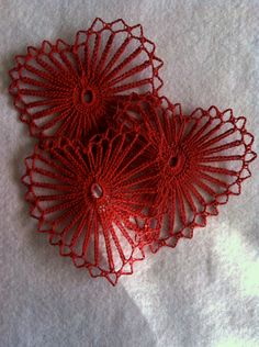 Set of 3 VIntage Red Crocheted Hearts. via Etsy.