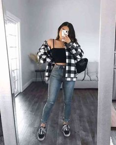 Trendy Fall Outfits, Baddie Outfits Casual, Teen Fashion Outfits, Retro Outfits, Cute Casual Outfits, Simple Outfits, Stylish Outfits, Vintage Outfits, Flannel Outfits