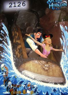 Rapunzel and Flynn on Splash Mountain