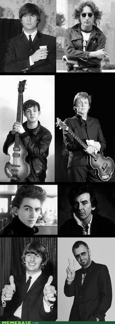 The Beatles young and old. Unfortunately John only made it to 40. #THEBEATLES #BEATLES #THE_BEATLES