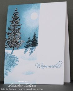 Snow laden tree  Posted: January 4, 2012   Author: Heather    Lovely as a Tree - twice stamped tree before embossing in clear