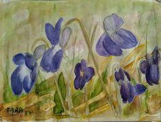 fialky - akvarel