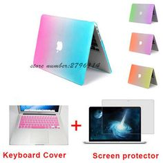 Fashion Matte Rainbow Hard Protector Case For Macbook Air 11 Pro 13 / 15 Inch With Retina + Pink Keyboard Cover Macbook Air 11, Macbook Pro Case, Macbook Pro Retina, Desktop Accessories, Laptop Accessories, Laptop Pouch, Laptop Bags, Keyboard Cover, Screen Protector