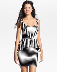 Dress like Santana Lopez: liberty love striped peplum dress $44 from Nordstrom