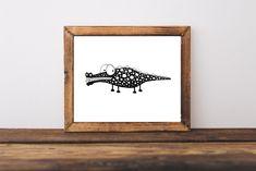 Monochrome animal prints nursery art whimsical illustrations 10x8in Crocodile #StressieCat