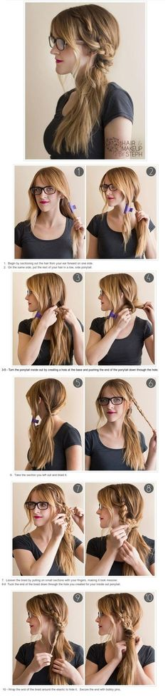DIY Hairstyles Braided Topsy Tail, for when my long hair comes back. Lazy Day Hairstyles, Pretty Hairstyles, Braided Hairstyles, Stylish Hairstyles, Hairstyles 2016, Everyday Hairstyles, Side Braid Ponytail, Coiffure Hair, Corte Y Color