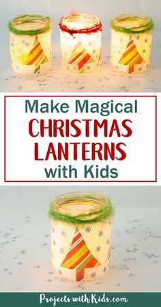 Start saving your jars, these magical Christmas lanterns are so fun and easy to make, you and your kids will love making these! They look absolutely stunning lit up with a candle inside and would make the perfect addition to any holiday decor. #christmaslanterns #diychristmasdecorations #kidmadedecorations