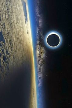 Eclipse shadow on the Earths atmosphere. Milky Way revealed.
