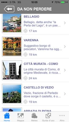 """""""Lake Como Travel Guide App""""'s contents example   Un esempio dei contenuti di """"Lake Como Travel Guide App""""   #Lake #Como #Lago #Italy #app #mobile #lakecomoapp"""