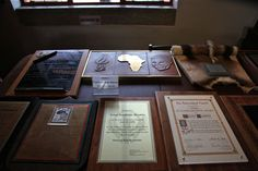 Nelson Mandela, freedom fighter and the first president of democratic post-apartheid South Africa 1994-1999. Trophies in Mandela House, Soweto, Johannesburg, South Africa. © Miikka Järvinen 2013