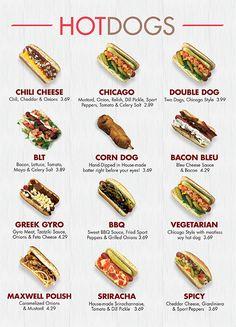 # Food and Drink menu board Food Truck Menu, Food Truck Design, Food Menu, Dessert Food, Dog Recipes, Cooking Recipes, Gourmet Hot Dogs, Gourmet Burgers, Hot Dog Toppings