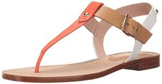 kate spade new york Women's Sky Flat Sandal, Pop Coral/Natural/White Vachetta, M US. Flat tri-tone sandal featuring T-strap thong, gold-tone hardware, and backstrap patch with logo. Adjustable buckle at ankle. T Strap Shoes, T Strap Sandals, Flat Sandals, Women's Shoes Sandals, Leather Sandals, Women's Flats, Ella Shoes, Leather Slippers For Men, Stylish Sandals