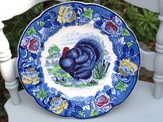 Items similar to Enoch 1785 Ralph 1750 Wood Burslem Turkey plate, blue multi color on Etsy Turkey Plates, Kitchenware, Tableware, Vintage Thanksgiving, Best Dishes, Dinner Sets, Platter, Ceramic Art, Dinnerware
