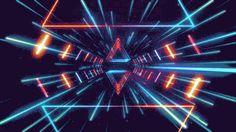 trippy neon geometry glow tunnel