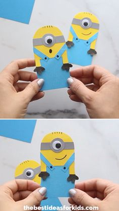 -such a cute Back to School craft! Make this easy paper minion bookmark with free printable template. This minion craft is great for kids to make on their own! Winter Crafts For Kids, Paper Crafts For Kids, Preschool Crafts, Fun Crafts, Art For Kids, Craft With Paper, Back To School Crafts For Kids, Art And Craft, Diy Back To School