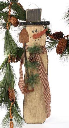 """Wooden Snowman Plaque - WOW 28"""" tall! - Primitive Buyout - Primitive Decor"""