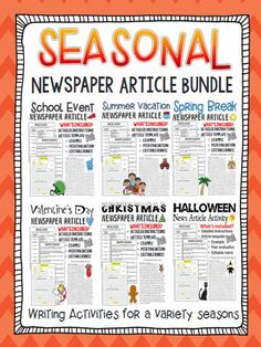 Looking for a writing activity that you can use all year long? This seasonal news article writing bundle gives students the opportunity to practice their writing skills, while at the same time, learning how to properly write an article.
