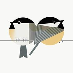 Scott Partridge - illustration - chickadees in the style of Charley Harper