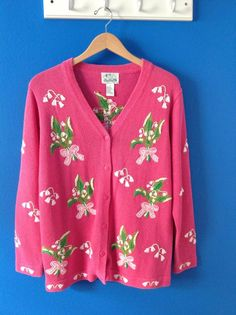 The QUACKER FACTORY Pink Floral Embroidered Cardigan Sweater M Spring New NWOT #QuackerFactory #Cardigan