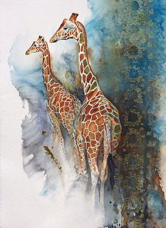 Double Gold by Karen Laurence-Rowe #watercolor #animals