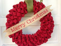 Red Burlap Christmas Wreath with Green by TheCraftySugarsnip